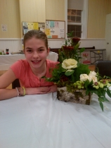 10 year old Charlotte Ross with the centrepiece she won through the raffle.  Centrepiece donated by Denise Burnham from the Hive in Carp.